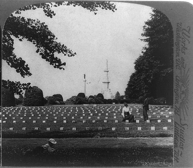 Underwood & Underwood. Monument where Lincoln's famous address was made - 979 of the great battle's unknown dead, Gettysburg. 1903. Library of Congress, Washington D.C.
