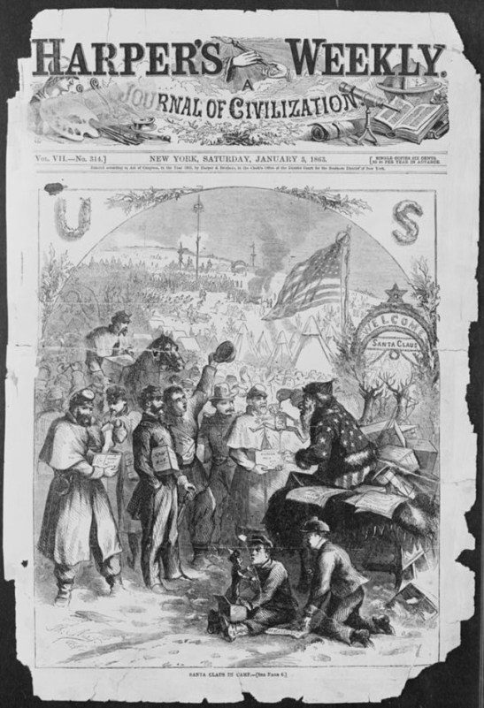 """""""Santa Claus in camp,"""" Harper's Weekly, 3 January 1863. Library of Congress."""