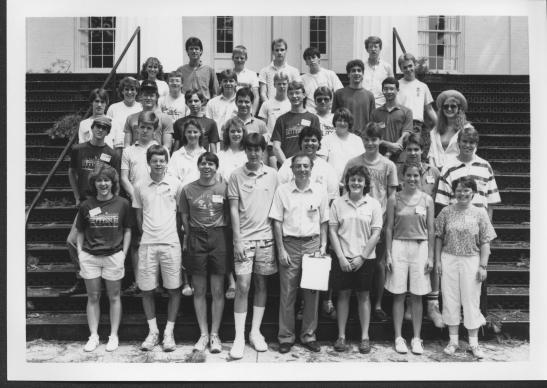 The thirty-eight high school scholarship attendees of the 1987 Civil War Institute Summer Conference, pictured on the steps of Pennsylvania Hall.