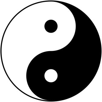 The symbol Taijitu represents the Yīn and Yáng of Taoism, but could just as easily represent the intertwining of 'good' and 'bad' in history. Image created by George Maxwell. Wikimedia Commons.
