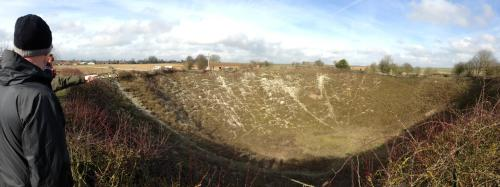The size of Lochnagar Crater in the Somme region makes the Battle of the Crater look as though it were fought in a pothole. Such was the destructive power of industrial warfare employed against the German army on the 1st of July, 1916. Not even an mine of this size could cripple German defenses, however, and the British division attacking this sector still took major casualties. The spot today is a popular one among visitors. Photo credit to author.