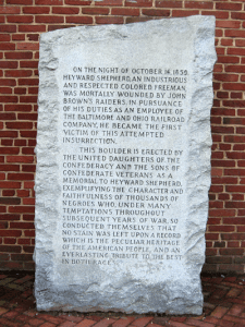 The Heyward Shepard Monument is the most controversial monument in the park. Erected in the 1930s by the United Daughters of the Confederacy, it provides a Lost Cause perspective on John Brown's raid. Photo credit Meghan Eaton.