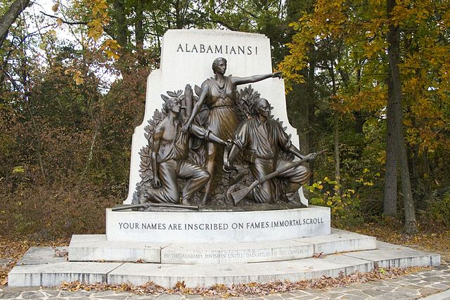 The Alabama State Monument at Gettysburg was dedicated in November 1933, and eschews any mention of the causes or results of the war, focusing solely on themes of heroism and duty. Photo courtesy Wikimedia Commons.