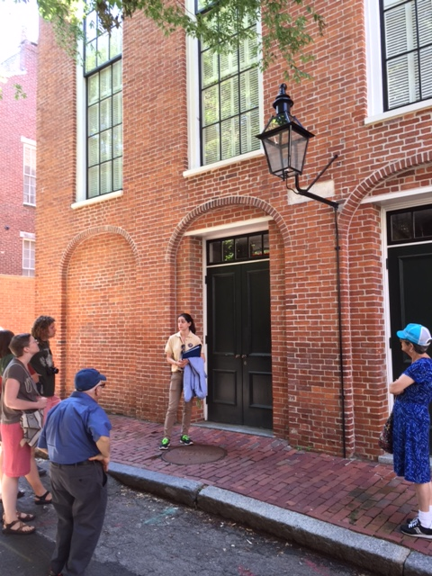 As part of her duties as a 2015 Brian C. Pohanka Intern at Boston African American National Historic Site, Melanie Fernandes speaks to a tour group in front of the c. 1806 African Meeting House, the oldest black church edifice still standing in the United States and site of the formation of the New England Anti-Slavery Society in 1832.