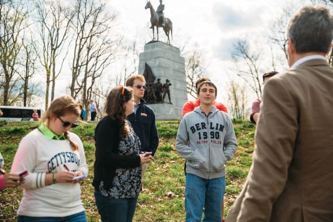 Dr. Pete Carmichael takes Pohanka interns around the Gettysburg battlefield.