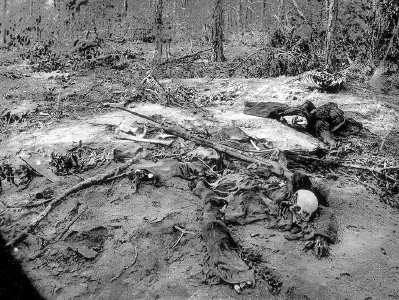 A photograph of the dead of Cold Harbor taken three months after the battle, via Off the Beaten Path.