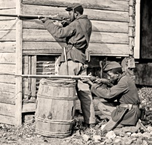 """Dutch Gap, Virginia. Picket station of Colored troops near Dutch Gap canal."" Courtesy of Library of Congress, via the House Divided Project."