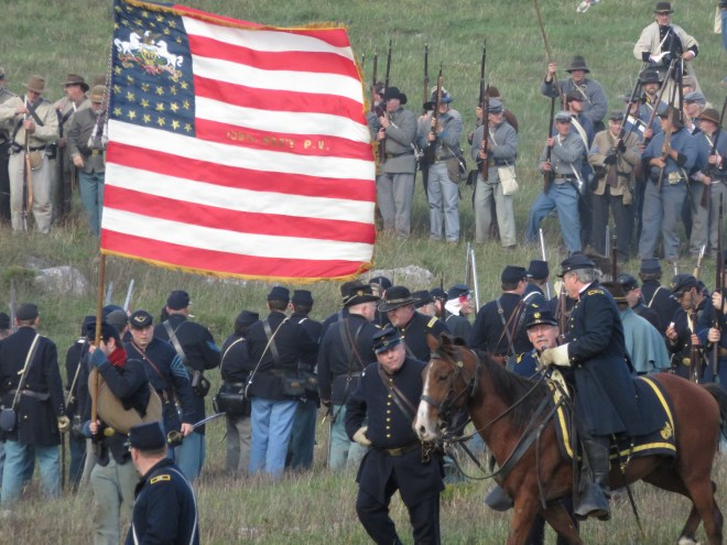 At Civil War reenactments such as the one in Cedar Creek, Virginia, women are permitted to take the field as soldiers. Photograph by author.