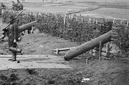 """Quaker guns"" were used to deceive enemy forces during the Civil War. These wooden logs were not dangerous but looked like cannon from a distance. Photo courtesy of civilwar.org"