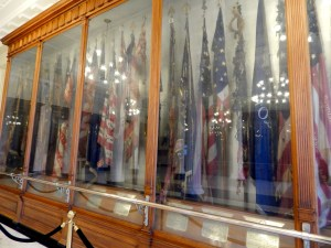 The Hall of Flags contains 107 battle flags ranging from the Civil War to the Vietnam War. Photo courtesy of author.