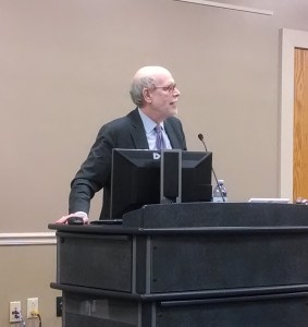 Harold Holzer spoke on February 23 at Gettysburg College. Photograph by the author.