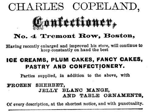 Though it's not William Schrafft's advertisement, this is an advertisement for Charles Copeland's Confectionery in Boston, Massachusetts. This ad was in a guidebook for Boston in 1867 and could be similar to an ad that Schrafft might have put out for his jelly beans. Photo courtesy of Wikimedia Commons.