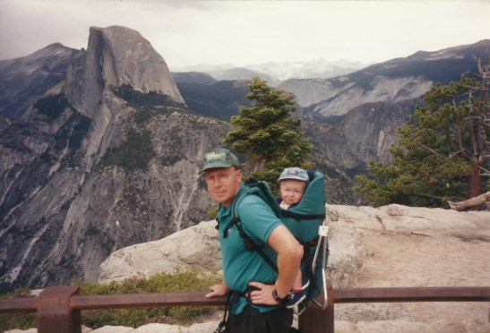 The author and his father at Glacier Point, overlooking Half Dome, during the author's first visit to Yosemite. Photo courtesy of Doreen Lauck.