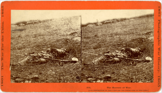 Stereoscope portraying the aftermath of the Battle of Gettysburg. Photo via Wikimedia Commons.