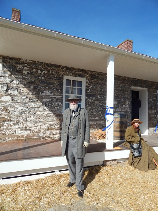 Confederate General Robert E. Lee stands outside the door of the Mary Thompson house, commonly referred to as Lee's Headquarters. Photo courtesy of author.