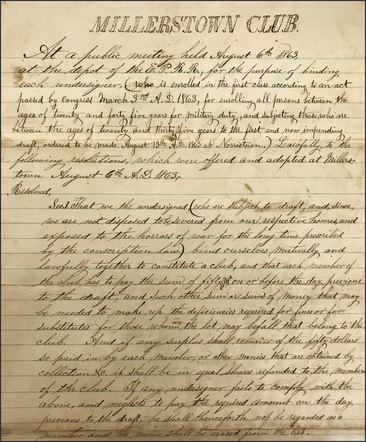"""We the undersigned…bind ourselves mutually"": Civil War Draft Resistance in Eastern Pennsylvania"