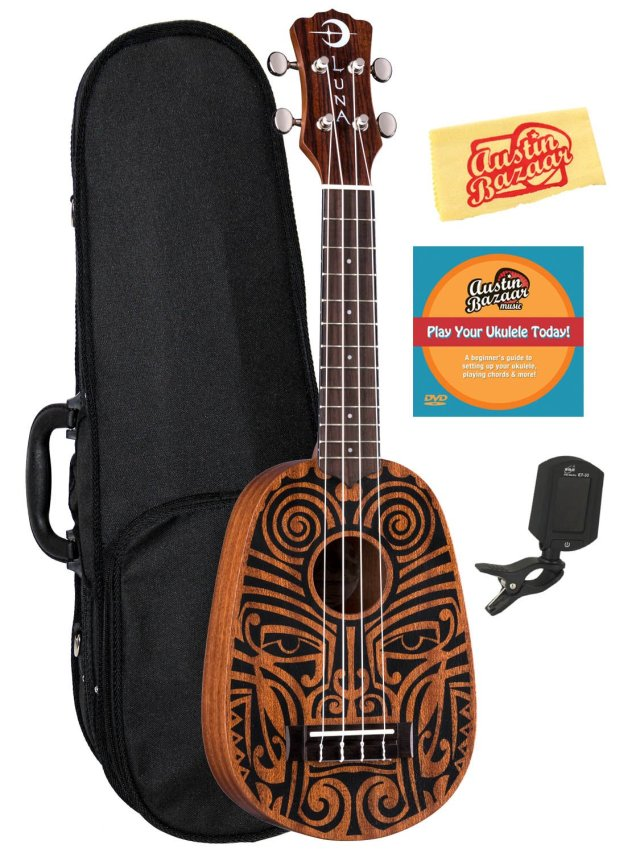Luna Tribal Pineapple Ukulele Bundle with Hard Case, Tuner, Austin Bazaar Instructional DVD, and Polishing Cloth