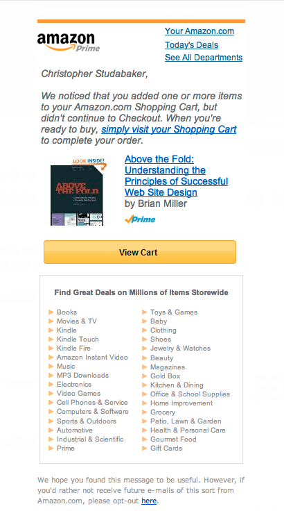 Email marketing Amazon.com mobile email example