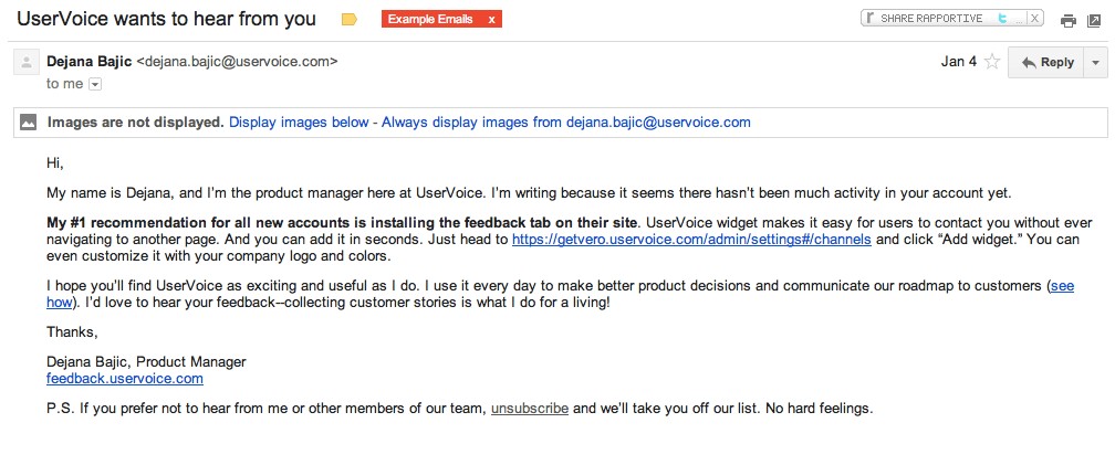 UserVoice Lifecycle Emails