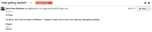 Meldium Email Example