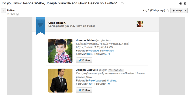 Twitter email example
