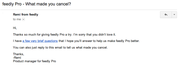 feedly pro feedback email