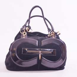Large Black Patent Leather & Suede Handbag