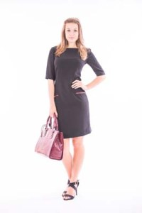 Black Crepe Short Sleeve Midi Length Dress