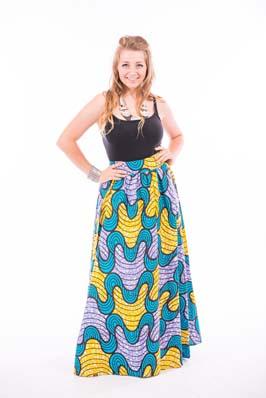 Long Wave Pattern Print Skirt