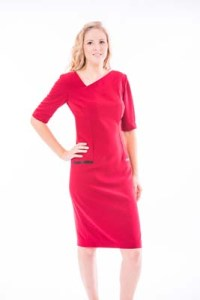 Red Crepe V Neck Knee Length Dress