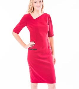 'A' Symmetric V Neck Knee Length Dress