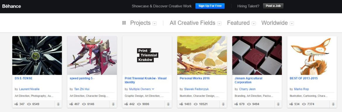 Behance is a great portfolio site to browse artists work.