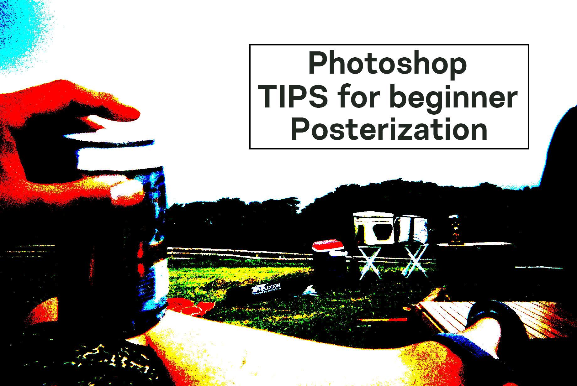 フォトショップのポスタリゼーションで加工したキャンプでビール片手にくつろぐ画像