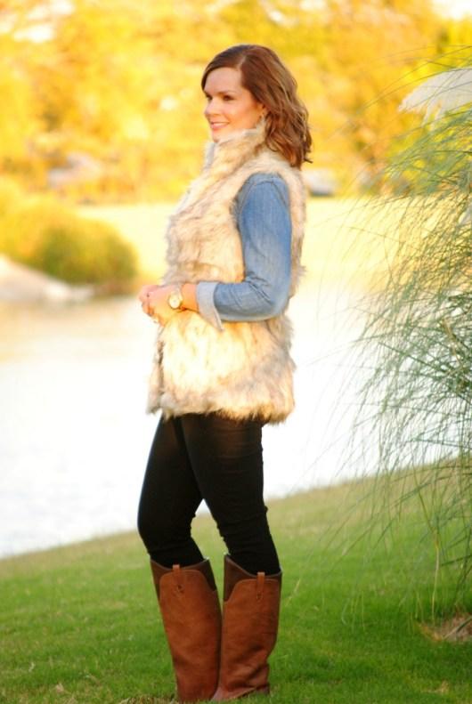 fur-vest-chambray-black-jeans-boot