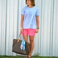 SAHMonday:  Striped Top and Bright Shorts
