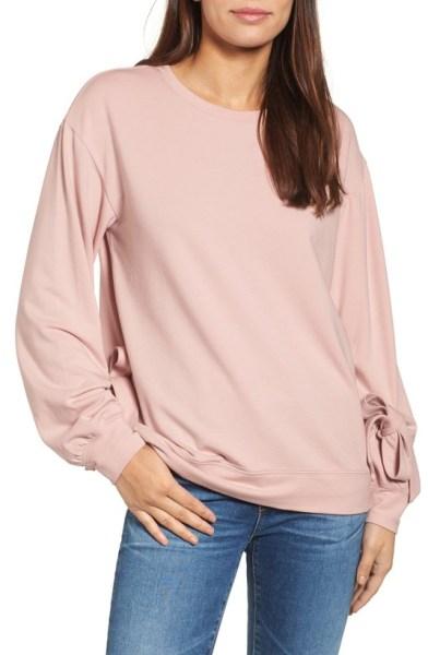tie sleeved blush sweatshirt
