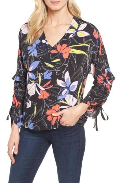 floral tie sleeve blouse spring 2018