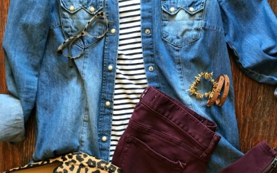 SAHMonday:  Chambray, Stripes, Burgundy and Leopard