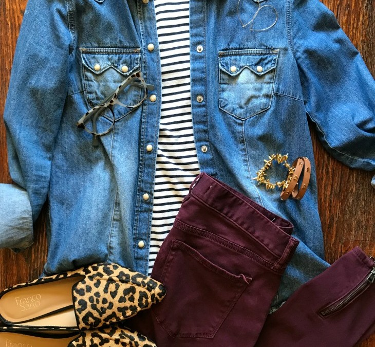 SAHMonday:  Chambray, Stripes, Burgundy and Leopard