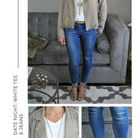 Date Night Ready: White Tee, Jeans and a Moto Jacket