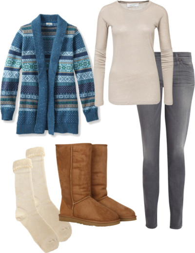 Easy Winter Outfit | Long Cardigan, Neutral Tee, Gray Jeans and Ugg Boots