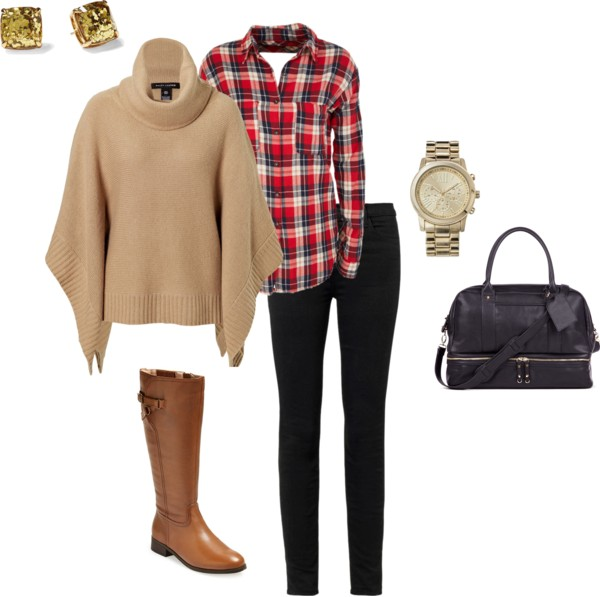Easy Winter Outfit | Poncho, Plaid Shirt, Black Jeans and Riding Boots