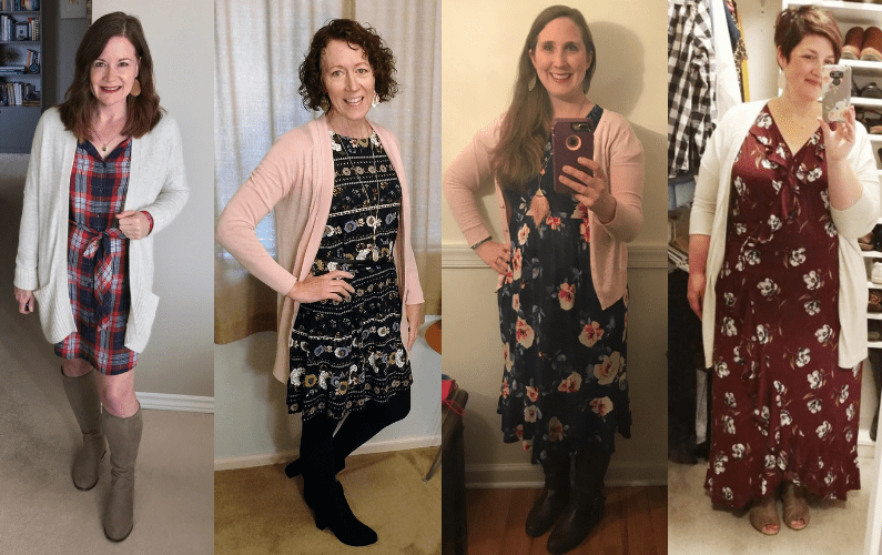 Looking for ideas on how to wear a cardigan with a dress? This post shows how 11 real women put their own spin on one cardigan + dress outfit.