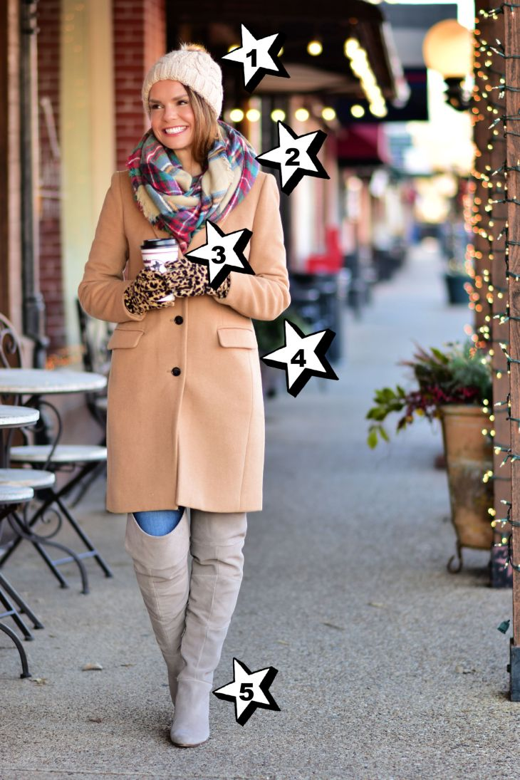 coat and plaid scarf from hallmark christmas movie outfit
