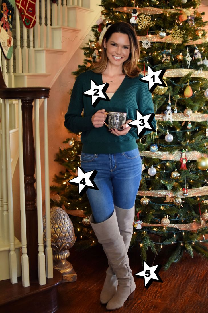 hallmark christmas movie outfit green wrap sweater and boots