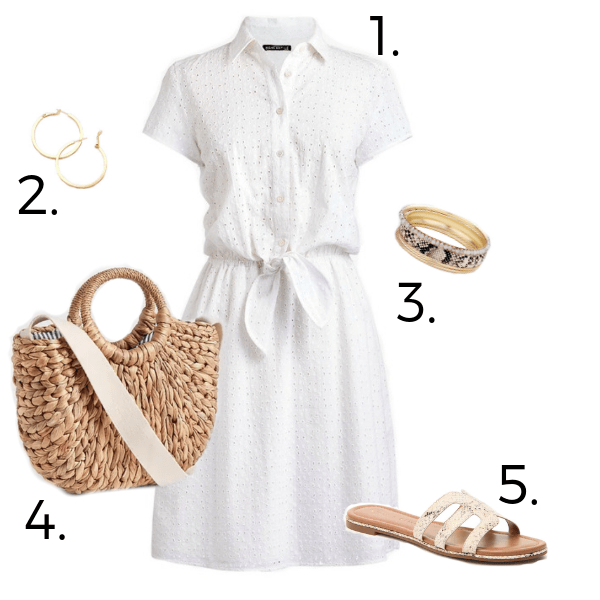 Stylish and trendy summery white eyelet dress with snake print sandals bracelets and straw bag