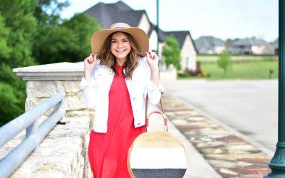 Summer Outfit Formula: Red Dress + White Denim Jacket + Floppy Hat
