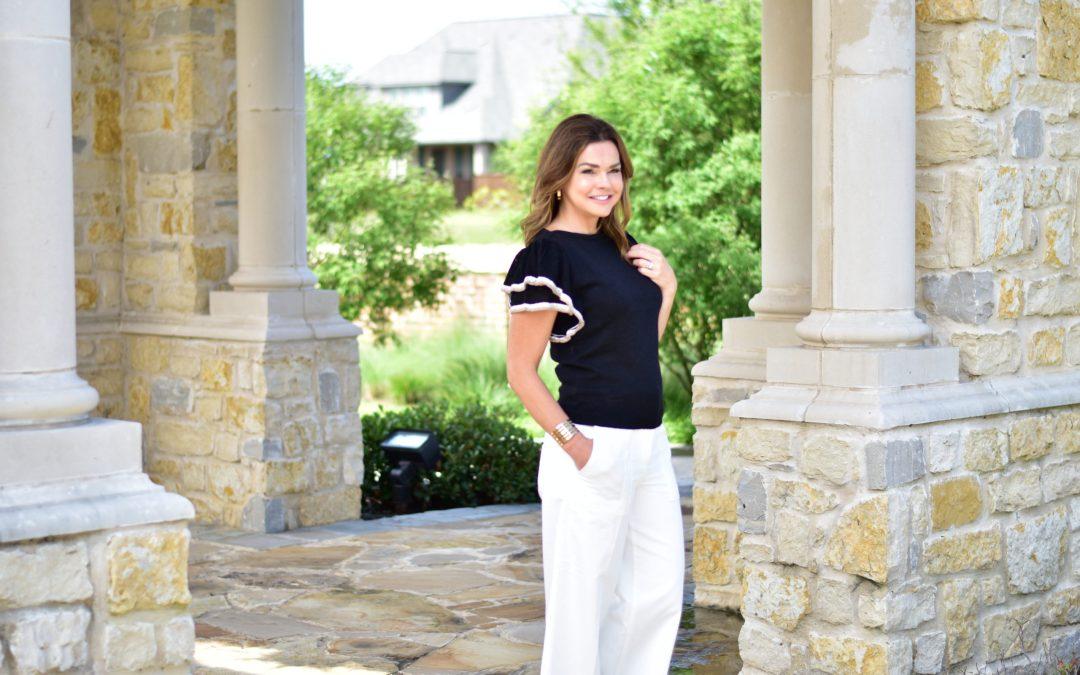 Summer Work Wear Outfit Formula: White Pants + Black Sweater + Block Heels