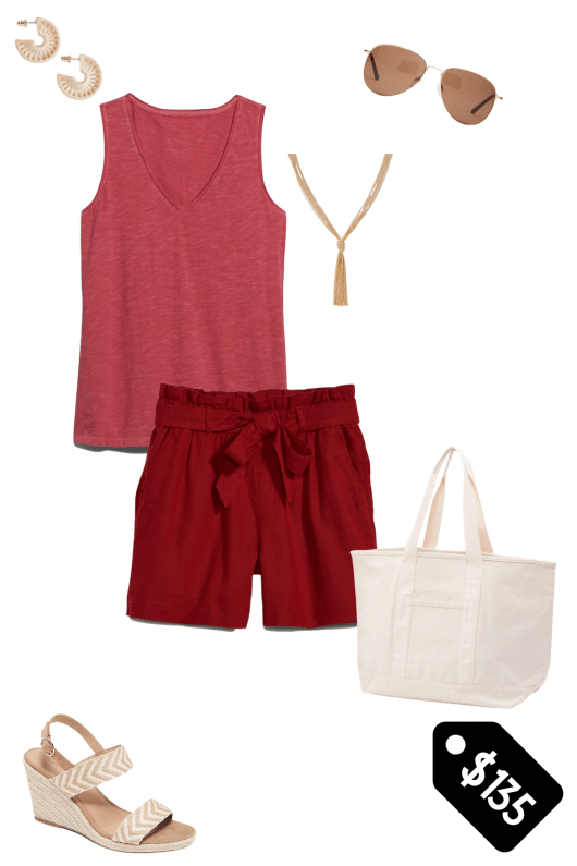 Monochromatic outfit from Old Navy with cream wrapped earrings, gold aviator sunglasses, a rust color tank top, a gold tassel necklace, rust paper bag waist shorts, canvas tote and natural color wedges.