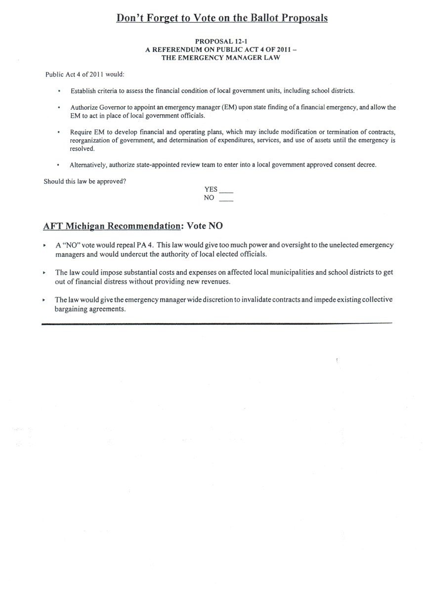 Ballot Language along with AFT Michigan's voting recommendation and reasoning for Proposal 1